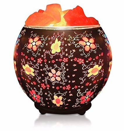 Himalayan CrystalLitez & EssentialLitez - Batik Flowers Salt Lamp Diffuser With Ul Listed Dimmer Cord