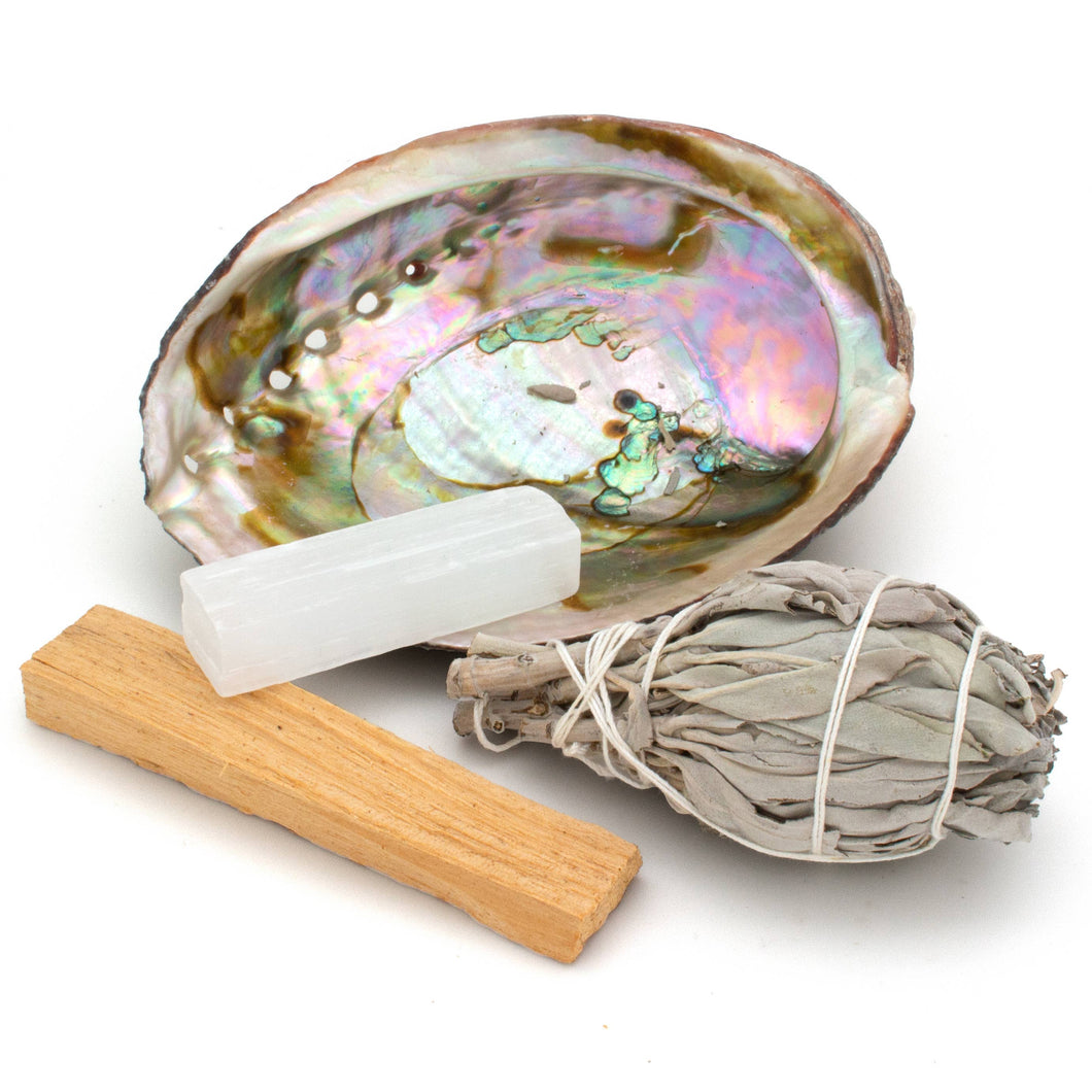 Hiouchi Jewels - BLISS KIT: SAGE, PALO SANTO, SELENITE CRYSTAL, ABALONE SHEL