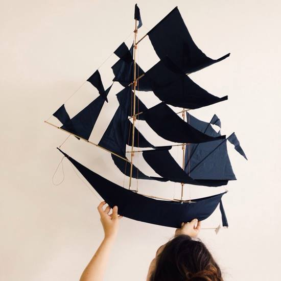 LARGE HAPTIC LAB SAILING SHIP KITE - INDIGO