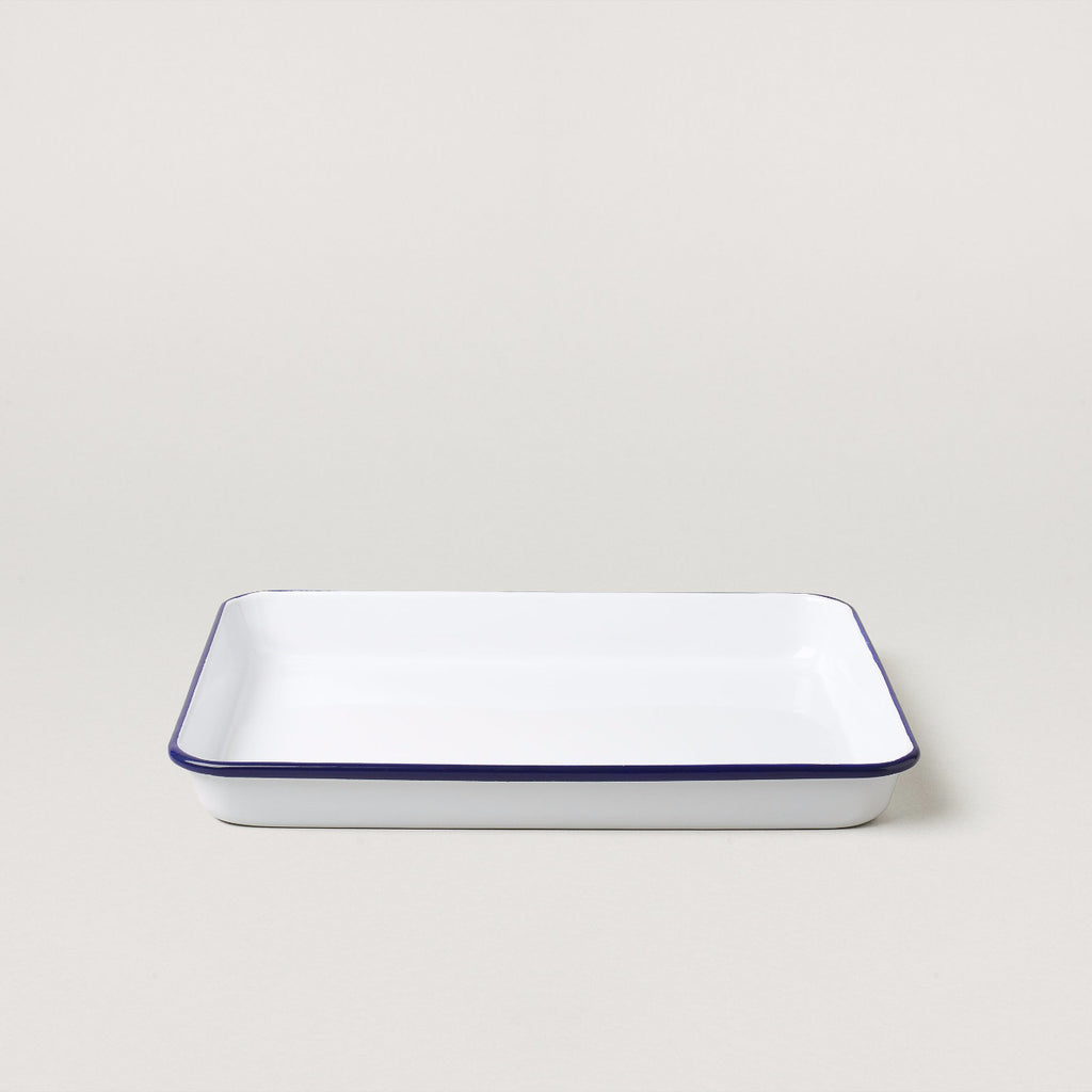 Falcon Serving tray- White with blue rim