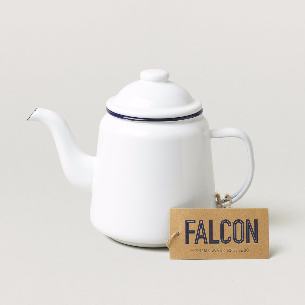 Falcon Teapot White with Blue rim