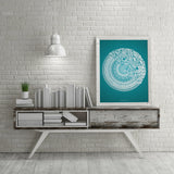 50Floral Mandala Teal Blue Framed by SimmyGhatt