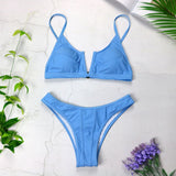 Sexy Bandeau Bikinis V Neck Bikini Swimsuits Push Up Swimwear Female Brazilian Bikini Set Bathing Suits Biquini