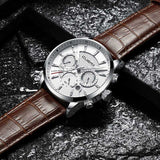 CUENA Men's Watches Stopwatch Date Luminous Hands Genuine Leather 30M Waterproof Clock Man Quartz Watches Men Fashion Watch