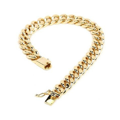 10MM 9 Inch Mens Gold Color Jewelry Hip Hop Bracelet  Heavy Cuban Link Chain Hand Chain Men Bracelet For Male