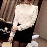 Women Blouses Slim Bottoming Long-sleeved White Shirt Lace Hook Flower Hollow Plus Size S-5XL
