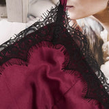 Women Sexy Sleepwear Kit Ladies Sleeveless Lingerie Lace V-Neck Nightgown Polyester Pijama