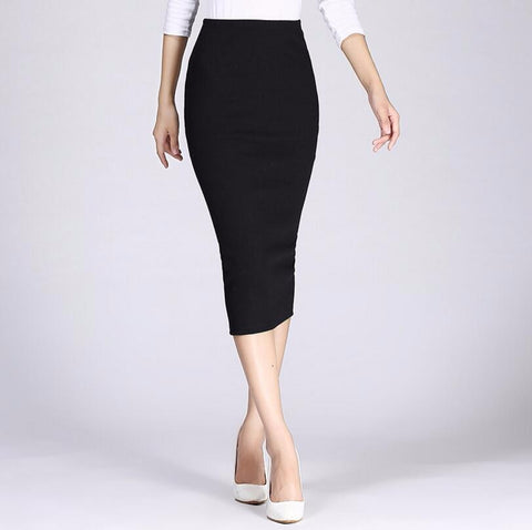 2018 Spring Autumn Long Pencil Skirts Women Sexy Slim Package Hip Maxi Skirt Lady Winter Sexy Chic Wool Rib Knit midi Skirt Saia - Markand Design