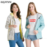 Spring Fashion Jacket Women Bomber Women Two side wear Pocket Zipper hooded Jacket Cartoon printing Loose Outwear Plus Size