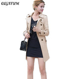 Spring autumn new women trench coat long section slim thin trench coat with sashes women loose casual windcoat