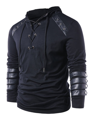Faux Leather Lace Up Hoodie