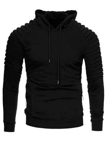 Solid Sleeve Pleated Side Zip Pocket Fleece Hoodie