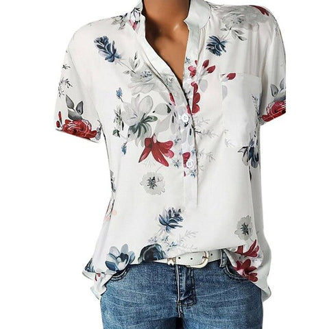 2020 New Hot Fashion Women's Printing V-neck Short Sleeve Shirt Pullover Top 9 Color 8 Size
