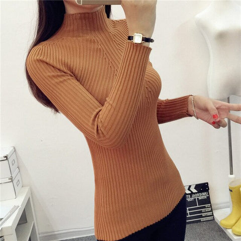 Women Sweater Warm Autumn Winter New Slim Solid Half-height Collar Knit Sweaters Pullover Tops 6 Colors