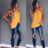 Sexy Women Fashion Summer Vest Top Sleeveless Backless Casual Tank Tops Halter Pure Color