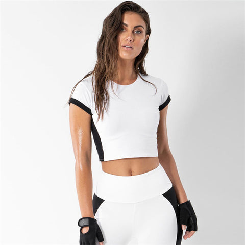 Women's fitness 2 pieces sets black white patchwork Active Wear short sleeve top sporting elastic high waist leggings sets