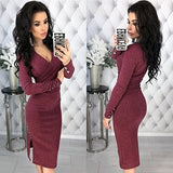 Autumn Winter Women Elegant Dress New Fashion 3/4 Sleeve Work Business Sheath Bodycon Wine red Blue Dress Vestidos