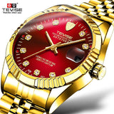 TEVISE Brand Luxury Men Automatic Watch Man Tourbillon Mechanical Watches Movement Gold Clock