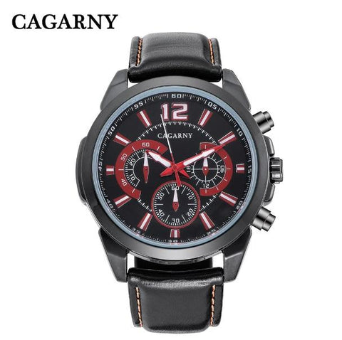 Cagarny Men's Wrist Watches Black Leather Strap
