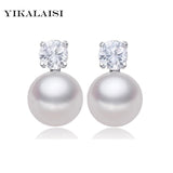 YIKALAISI natural freshwater pearl stud earrings 925 sterling silver jewelry