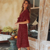 Women summer casual bohemian dress Women Short Sleeve V Neck Wrap Boho Dress