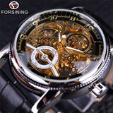 Forsining Hollow Engraving Skeleton Casual Designer Black Golden Case Gear Bezel Watches Men Luxury Brand Automatic Watches