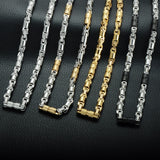 Titanium Stainless Steel 55CM 6MM Heavy Link Byzantine Chains Necklaces for Men Jewelry