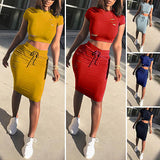 Two Piece Set Summer Dresses Women Sexy Patchwork Cocktail Party Bodycon Bandage Dress Wholesale