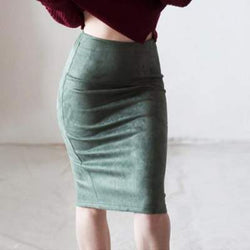 Suede Solid Color Pencil Skirt High Waist Bodycon Vintage Suede Split Thick Stretchy Skirts - Markand Design