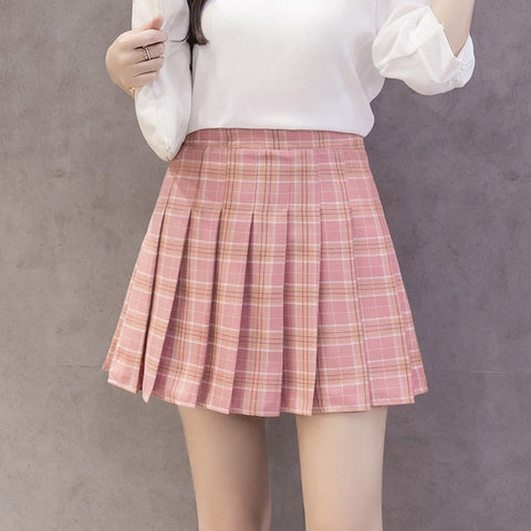 Korean style women zipper high waist skirt school girl faldas pleated plaid skirt sexy red mini skirt jupe femme