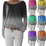 Autumn Ladies Long Sleeve T-Shirt O-Neck Sexy Gradient Digital Print Women T-Shirts Fashion Loose Top T-Shirt Plus Size 3XL
