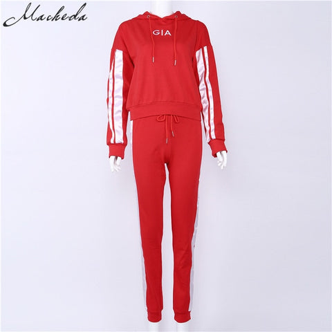 Nibbe spring Autumn fashion women Sportswear 2 piece set women White Red Active Wear Casual Sweat Pants Hooded Sweatshirt Hoodie