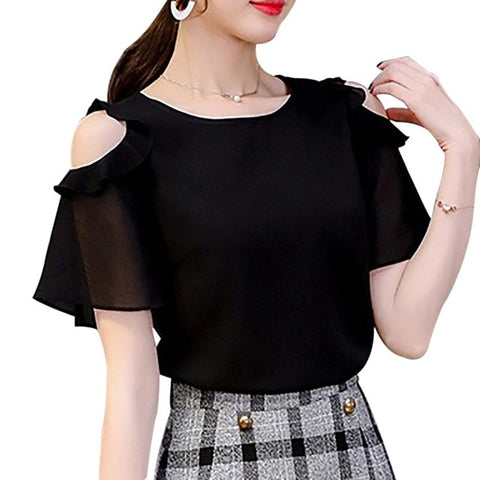 Summer Ladies Causal Off Shoulder Ruffles Shirts Women's Black/White Chiffon Blouses Women O-neck Short Sleeve Solid Tops