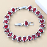 925 Silver Jewelry Cham Bracelet Bangle Dubai Bridal Wedding For Women Trendy Costume 9-Colors Jewelry Length 18+3CM