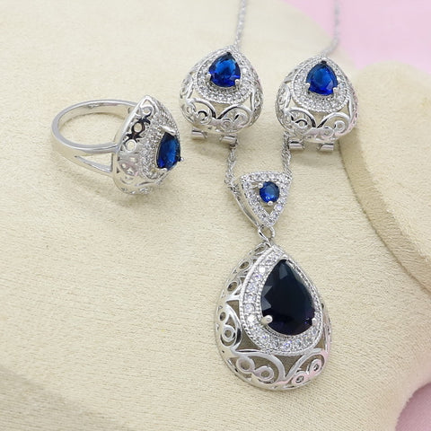 925 Silver Jewelry Sets Women Yellow Blue 2 Colors Crystal Ear Clip Earrings Necklace Ring Bridal Fashion Jewelry Free Gift Box