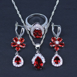 925 Stamp Silver Color Jewelry Sets Water Drop & Flower Red/Green/White/Blue Cubic Zirconia Pendants/Drop Earrings/Rings Sets