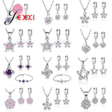 925 Sterling Silver Gift Jewelry Set for Women Girl Austria Crystal Pendant Necklace Huggie Earrings Bracelet Wedding Decoration