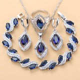 925 Sterling Silver Wedding Accessories Women Bridal Jewelry Sets With Natural Stone CZ Blue Bracelet And Ring Sets