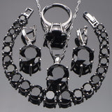 925 Sterling Silver Wedding Bridal Jewelry Sets Black Zirconia Earrings For Women Necklace Pendant Rings Bracelet Set Gift Box