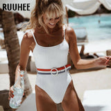 One Piece Swimsuit Swimwear Women Solid Bathing Suit With Belt Swimming Suit For Women Beachwear Padded Monokini
