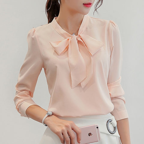 Summer Blouse Women Long Sleeve Shirts Fashion Leisure Chiffon Shirt Bow Office Ladies Pink White Tops
