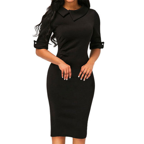 Women Turn-down Collar Spring Office Lady Half Sleeve Knee-Length Dresses Sheath Solid