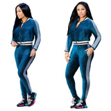 European leisure digital printing Tight leg movement pants suit two-piece