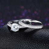 Solid 925 Sterling Silver Ring Sets Engagement Jewelry Classic Fashion Ring