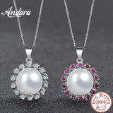 ANDARA 925 Sterling Silver Pearl Pendant Necklace Mosaic AAA Zircon Jewelry Real Freshwater Pearl Charm Fine Accessaries