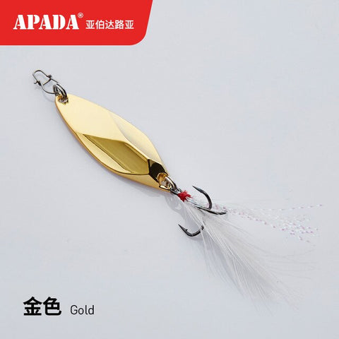 APADA Spoon 024 Soul calibur  Treble Hook 10g-15g-20g 50-57-64mm Feather Metal Spoon Multicolor Fishing Lures
