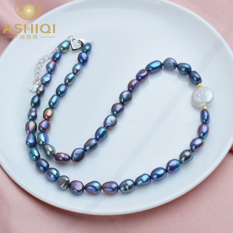 Natural Freshwater Baroque Pearl Necklace for Women Authentic 925 Sterling Silver Ball Jewelry