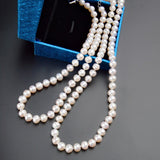 Real Natural Freshwater Pearl Necklace For Women 8-9mm White Near Round Pearl Jewelry Gift