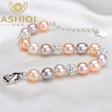 Real Natural Pearl Bracelet for Women Freshwater Pearls Jewelry handmade crystal ball bracelets  gift