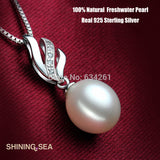 Real Natural Pearl Necklaces with 925 sterling silver Pendants, Freshwater Pearls Jewelry For Women festival gift